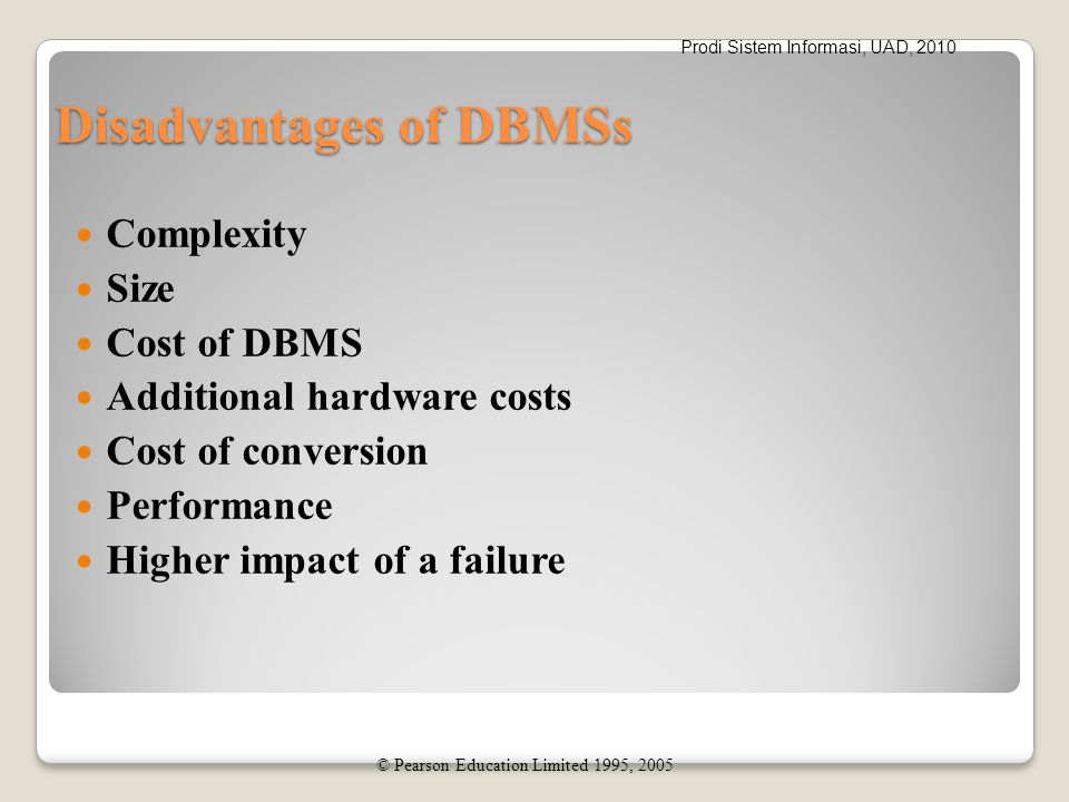 Prodi Sistem Informasi, UAD, 2010 Disadvantages of DBMSs Complexity Size Cost of DBMS Additional hardware costs Cost of conversion Performance Higher
