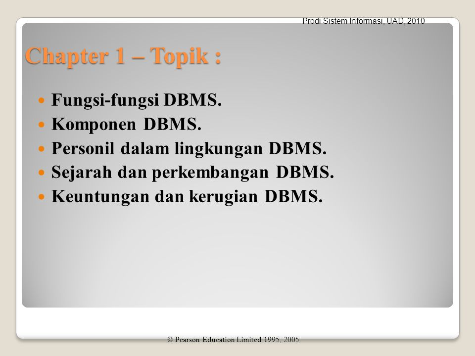 Prodi Sistem Informasi, UAD, 2010 Disadvantages of DBMSs Complexity Size Cost of DBMS Additional hardware costs Cost of conversion Performance Higher impact of a failure © Pearson Education Limited 1995, 2005