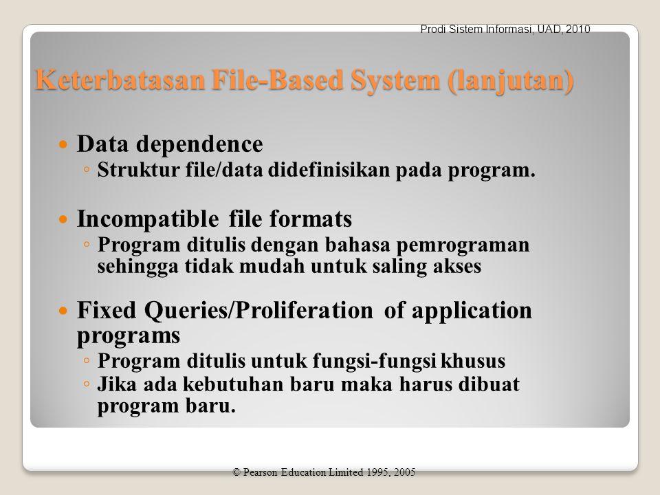 Prodi Sistem Informasi, UAD, 2010 Keterbatasan File-Based System (lanjutan) Data dependence ◦ Struktur file/data didefinisikan pada program.