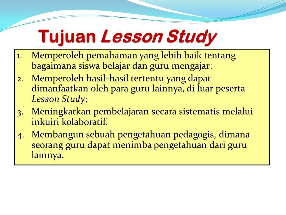 Tujuan Lesson Study 1. Memperoleh pemahaman yang lebih baik tentang bagaimana siswa belajar dan guru mengajar; 2. Memperoleh hasil-hasil tertentu yang