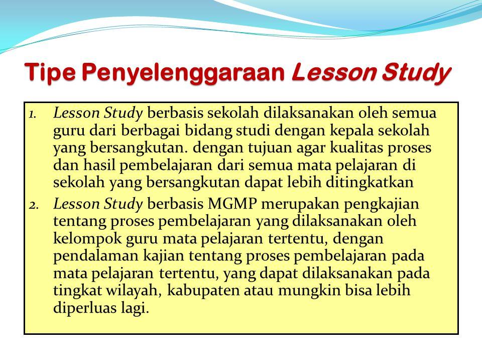 Tipe Penyelenggaraan Lesson Study 1. Lesson Study berbasis sekolah dilaksanakan oleh semua guru dari berbagai bidang studi dengan kepala sekolah yang