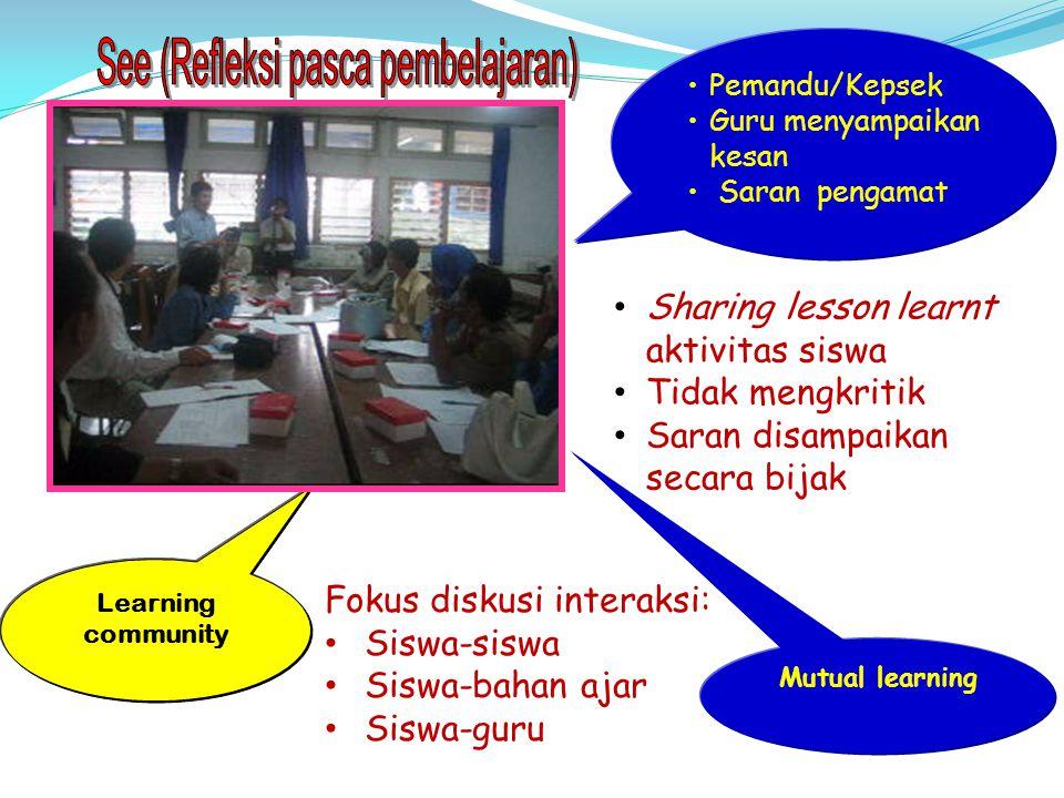 Sharing lesson learnt aktivitas siswa Tidak mengkritik Saran disampaikan secara bijak Fokus diskusi interaksi: Siswa-siswa Siswa-bahan ajar Siswa-guru