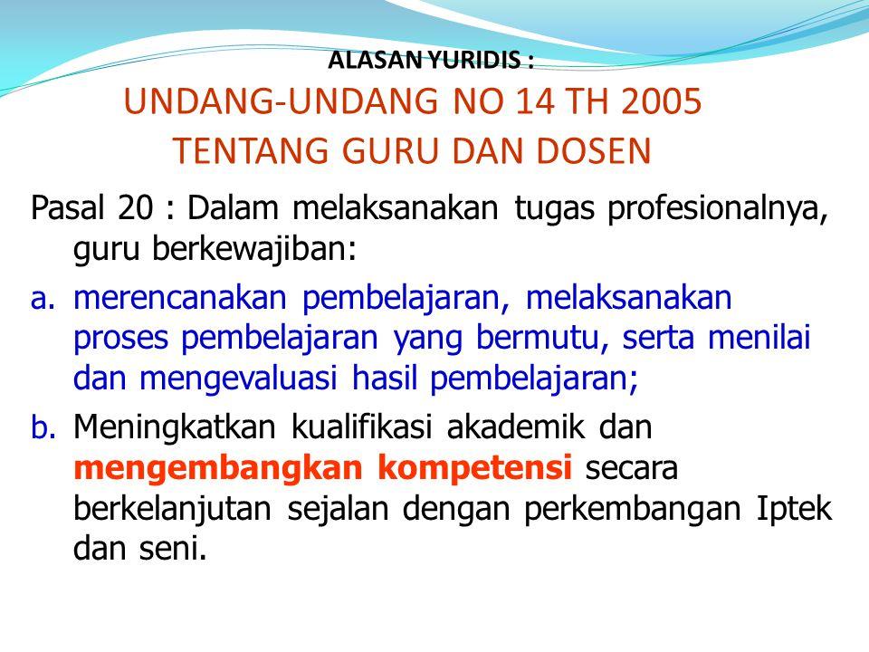 ALASAN YURIDIS : UNDANG-UNDANG NO 14 TH 2005 TENTANG GURU DAN DOSEN Pasal 20 : Dalam melaksanakan tugas profesionalnya, guru berkewajiban: a. merencan