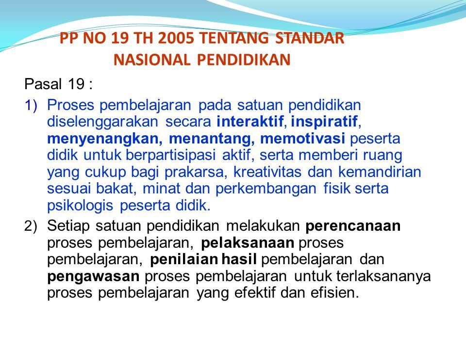 PP NO 19 TH 2005 TENTANG STANDAR NASIONAL PENDIDIKAN Pasal 19 : 1) Proses pembelajaran pada satuan pendidikan diselenggarakan secara interaktif, inspi