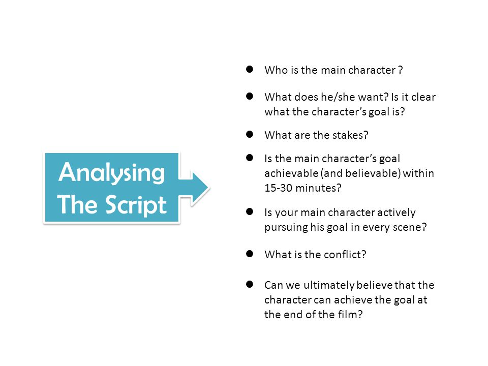 Analysing The Script Who is the main character ? What does he/she want? Is it clear what the character's goal is? What are the stakes? Is the main cha