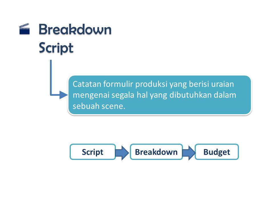  Breakdown Script Catatan formulir produksi yang berisi uraian mengenai segala hal yang dibutuhkan dalam sebuah scene. BreakdownBudgetScript