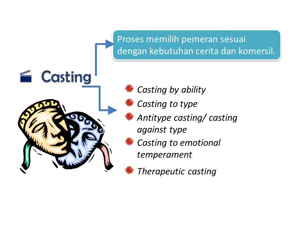  Casting Proses memilih pemeran sesuai dengan kebutuhan cerita dan komersil. Casting by ability Antitype casting/ casting against type Casting to emo