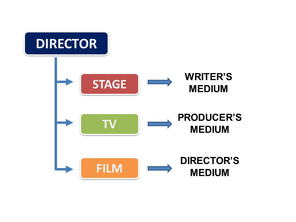 DIRECTOR STAGE TV FILM WRITER'S MEDIUM PRODUCER'S MEDIUM DIRECTOR'S MEDIUM