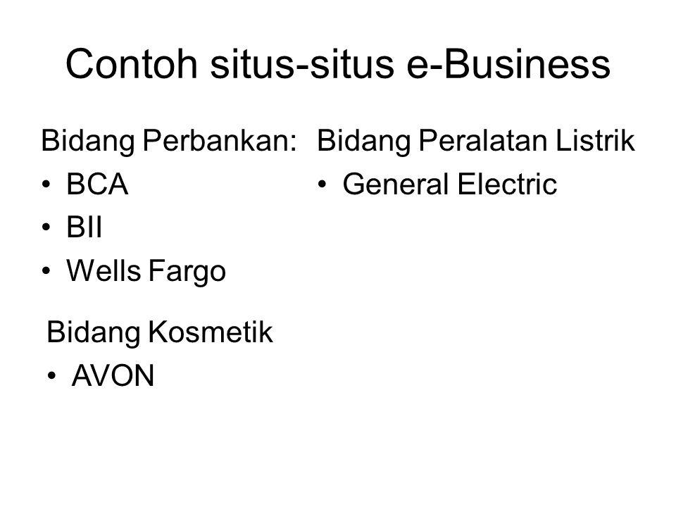 Contoh situs-situs e-Business Bidang Perbankan: BCA BII Wells Fargo Bidang Peralatan Listrik General Electric Bidang Kosmetik AVON