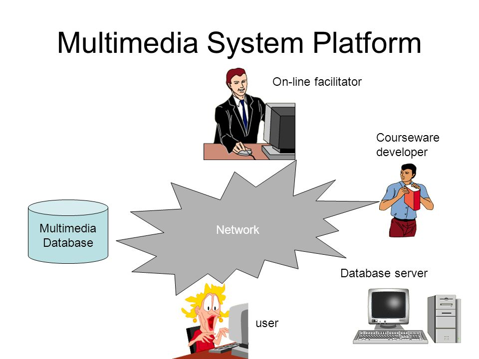 Multimedia System Platform Multimedia Database Network On-line facilitator user Database server Courseware developer