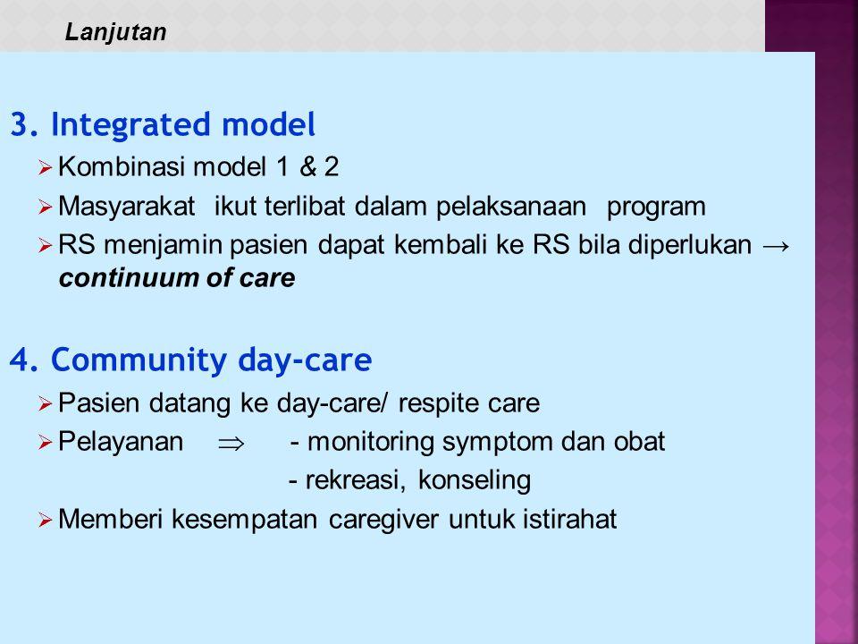 1. Facility-based  Program RS :  Mengirim petugas secara periodik ke rumah pasien  Difokuskan untuk kebutuhan perawatan medis 2. Community-based 