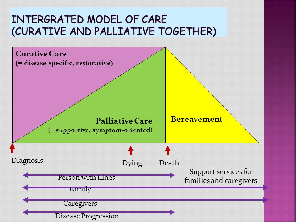 Curative Care (= disease-specific, restorative) Palliative Care (= supportive, symptom-oriented) DiagnosisDying Death Person with Illnes DISEASE PROGR