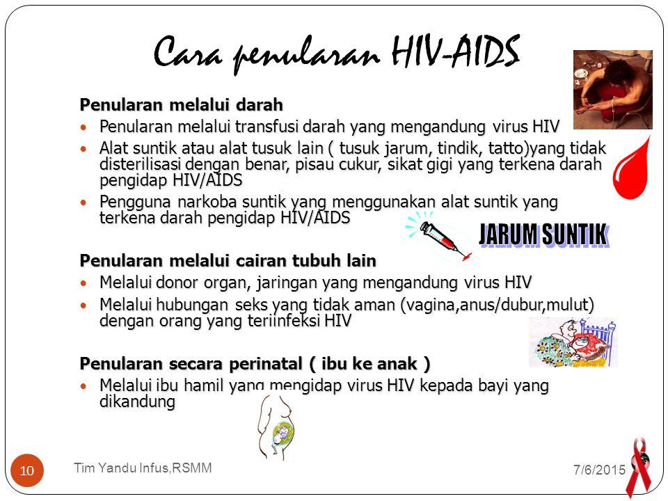 Tim Yandu Infus,RSMM Bagaimana seseorang dapat tertular HIV ……? 7/6/2015 9