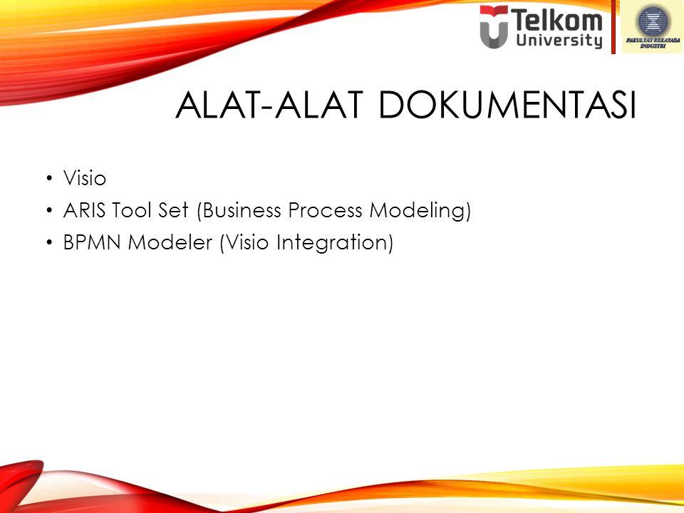 ALAT-ALAT DOKUMENTASI Visio ARIS Tool Set (Business Process Modeling) BPMN Modeler (Visio Integration)