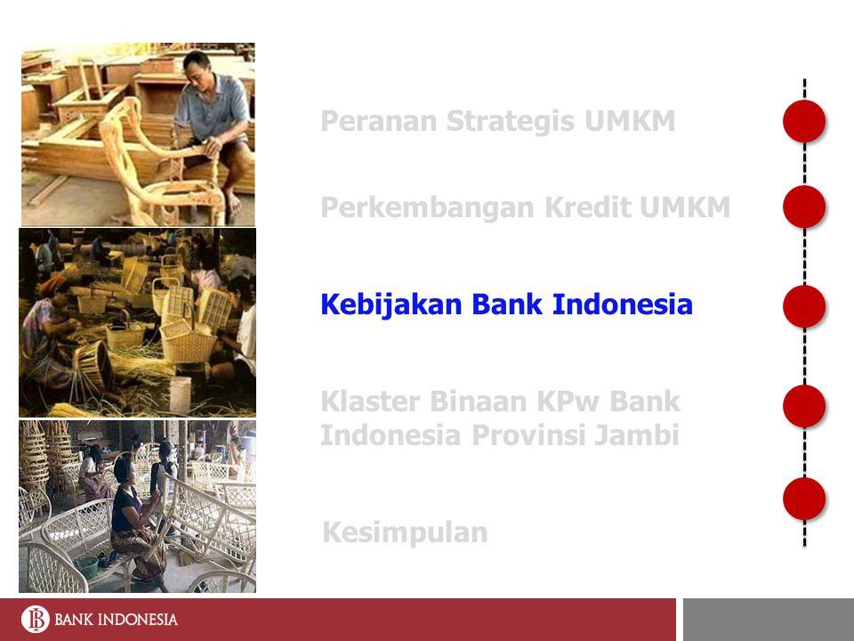 KEBIJAKAN PENGEMBANGAN UMKM OLEH BI MISI BI Mencapai dan memelihara kestabilan nilai tukar rupiah melalui peningkatan kapasitas ekonomi MISI BI Mencapai dan memelihara kestabilan nilai tukar rupiah melalui peningkatan kapasitas ekonomi LANDASAN PEMIKIRAN UU Bank Indonesia (ps 7 ay 2 & ps 10 ay 1.b.4) UU Perbankan UU No.
