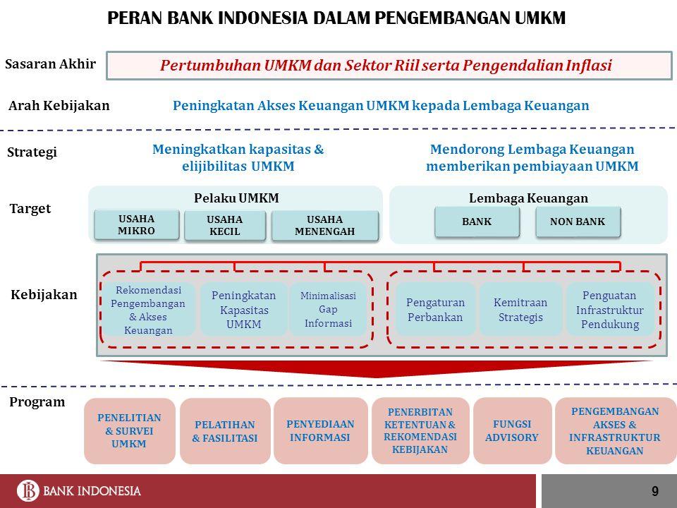 Pengaturan Perbankan Kemitraan Strategis Sasaran Akhir Program Pelaku UMKM Lembaga Keuangan Penguatan Infrastruktur Pendukung Target Kebijakan Rekomen