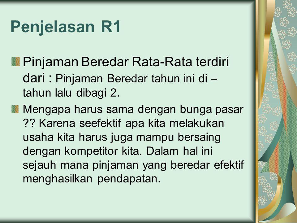Penjelasan R1 Pinjaman Beredar Rata-Rata terdiri dari : Pinjaman Beredar tahun ini di – tahun lalu dibagi 2. Mengapa harus sama dengan bunga pasar ??