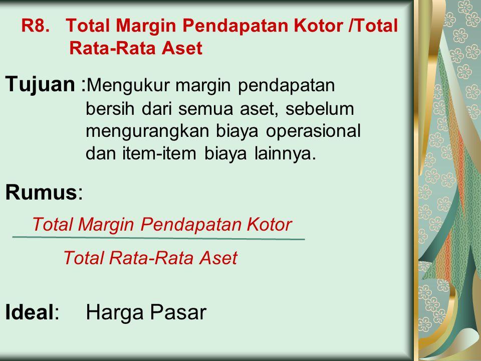 R8. Total Margin Pendapatan Kotor /Total Rata-Rata Aset Tujuan : Mengukur margin pendapatan bersih dari semua aset, sebelum mengurangkan biaya operasi
