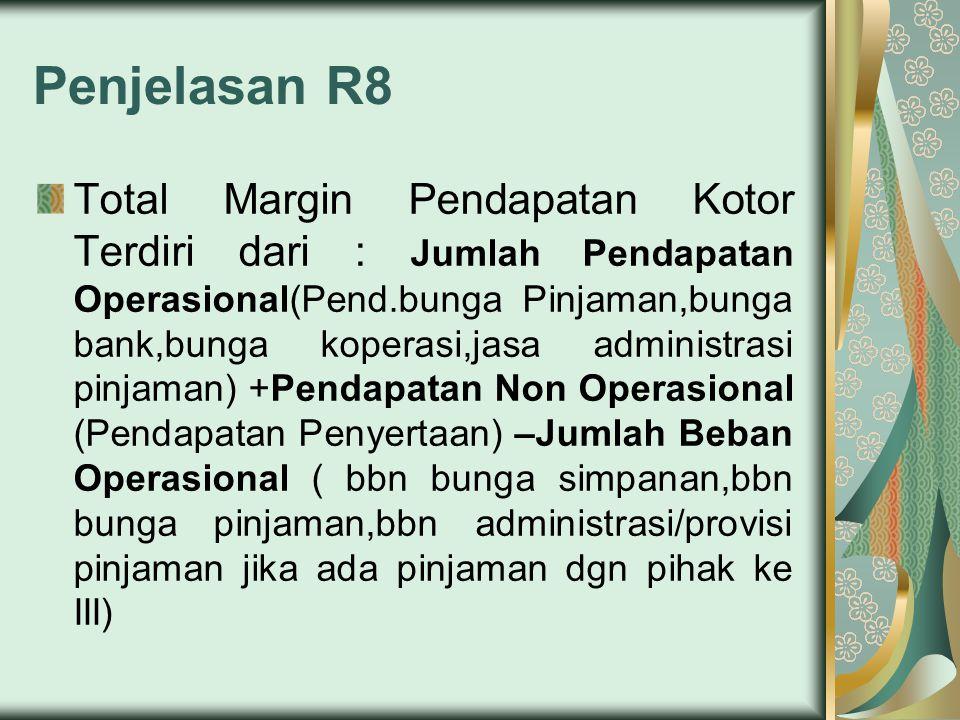 Penjelasan R8 Total Margin Pendapatan Kotor Terdiri dari : Jumlah Pendapatan Operasional(Pend.bunga Pinjaman,bunga bank,bunga koperasi,jasa administra