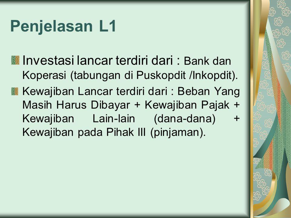 Penjelasan L1 Investasi lancar terdiri dari : Bank dan Koperasi (tabungan di Puskopdit /Inkopdit). Kewajiban Lancar terdiri dari : Beban Yang Masih Ha