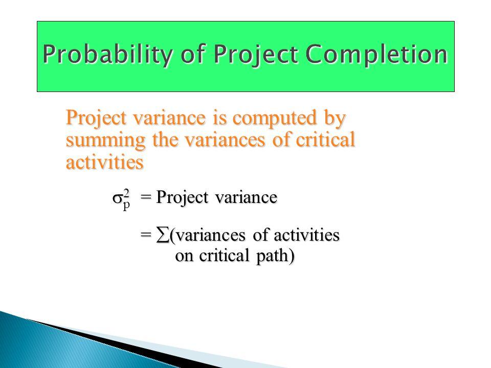 MostExpected OptimisticLikelyPessimisticTimeVariance Activity ambt = (a + 4m + b)/6[(b – a)/6] 2 A1232.11 B2343.11 C1232.11 D2464.44 E14741.00 F12931.78 G341151.78 H1232.11 Table 3.4