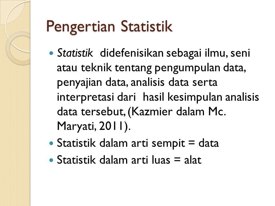 Pengertian Statistik Statistik didefenisikan sebagai ilmu, seni atau teknik tentang pengumpulan data, penyajian data, analisis data serta interpretasi