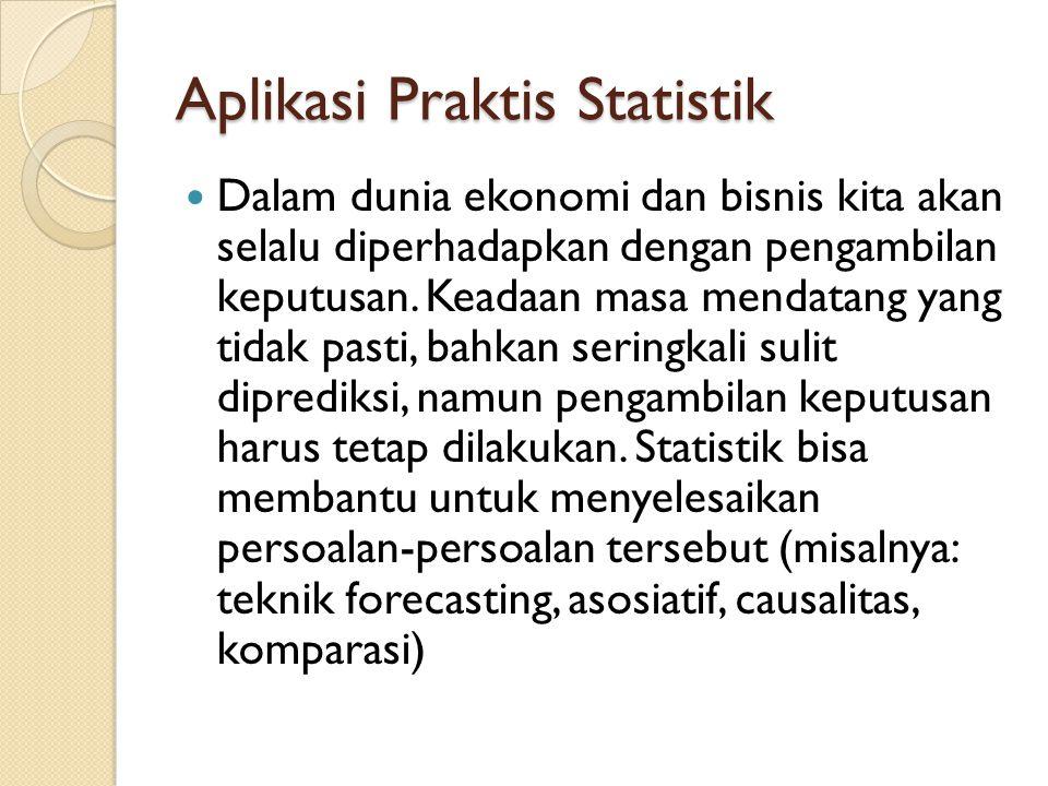 Jenis Statistik 1.Statistik Deskriptif Digunakan untuk menggambarkan, menjelaskan atau menganalisis suatu hasil penelitian, tetapi tidak digunakan untuk membuat kesimpulan yang lebih luas (generalisasi/inferensi).