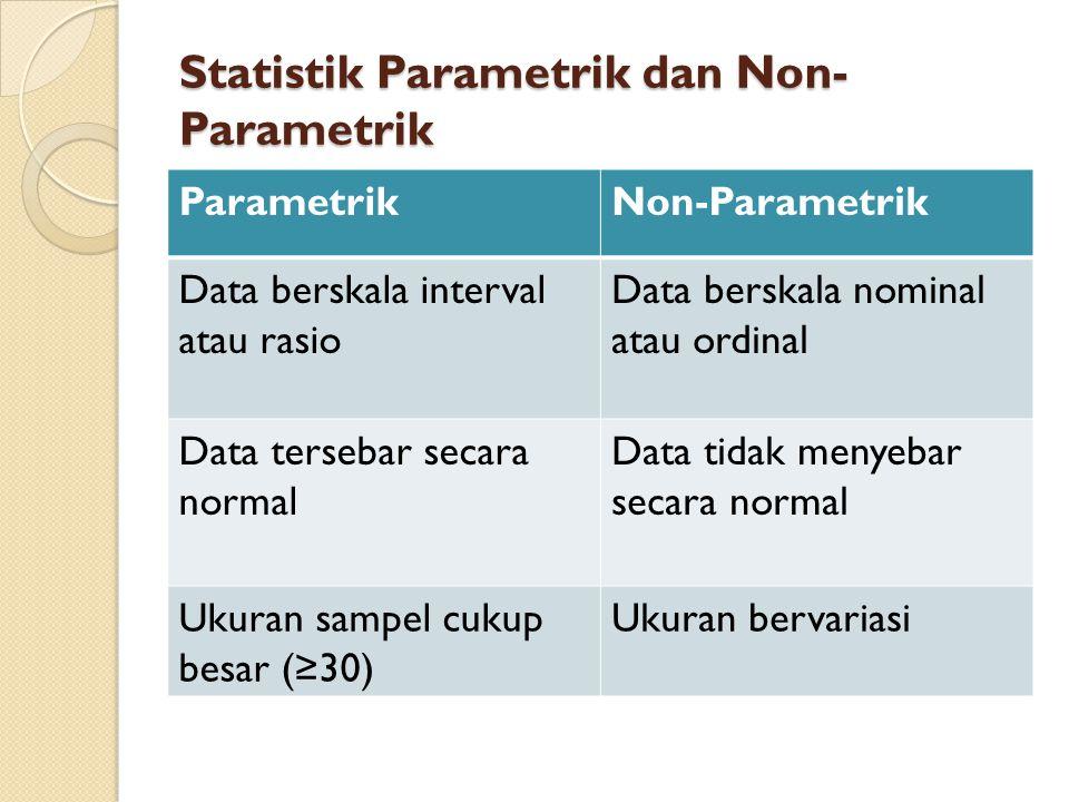 Statistik Parametrik dan Non- Parametrik ParametrikNon-Parametrik Data berskala interval atau rasio Data berskala nominal atau ordinal Data tersebar s