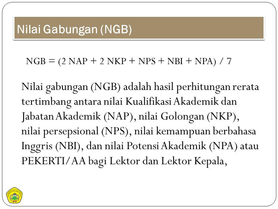 Nilai Gabungan (NGB) Nilai gabungan (NGB) adalah hasil perhitungan rerata tertimbang antara nilai Kualifikasi Akademik dan Jabatan Akademik (NAP), nil