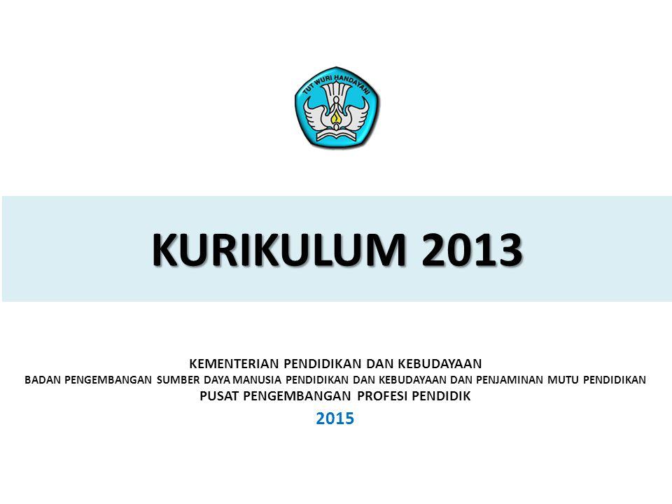 1 PELATIHAN IMPLEMENTASI KURIKULUM 2013 2015 KURIKULUM 2013 KEMENTERIAN PENDIDIKAN DAN KEBUDAYAAN BADAN PENGEMBANGAN SUMBER DAYA MANUSIA PENDIDIKAN DAN KEBUDAYAAN DAN PENJAMINAN MUTU PENDIDIKAN PUSAT PENGEMBANGAN PROFESI PENDIDIK