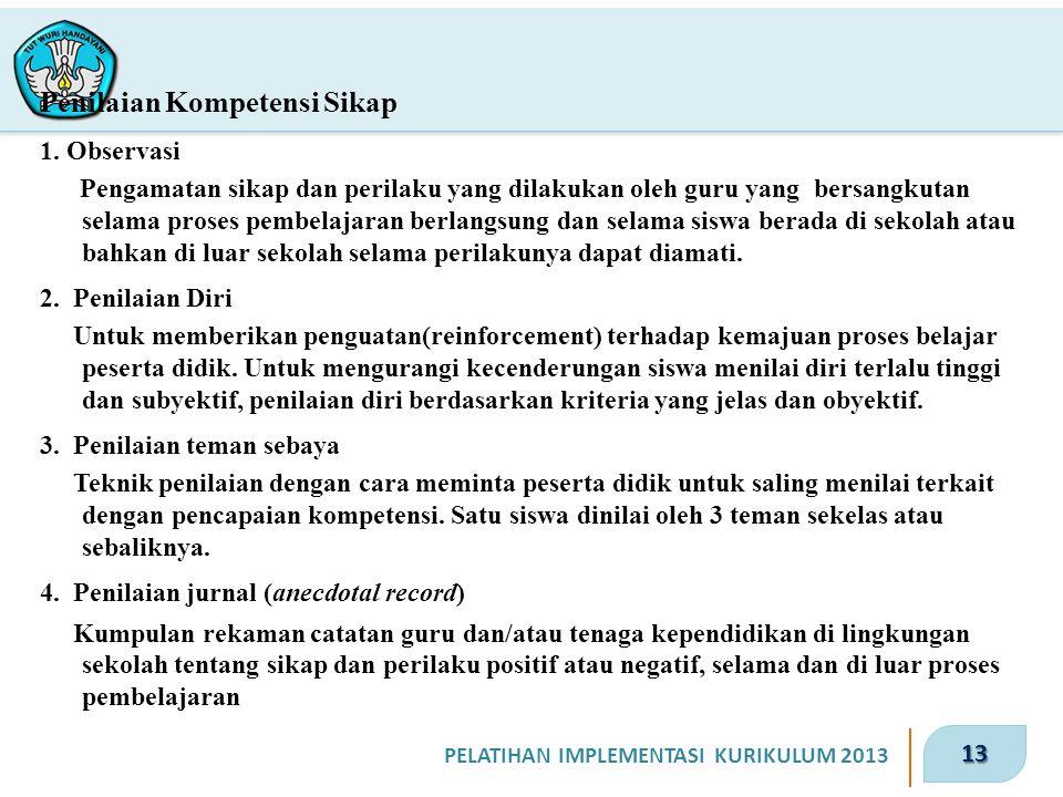 13 PELATIHAN IMPLEMENTASI KURIKULUM 2013 Penilaian Kompetensi Sikap 1.