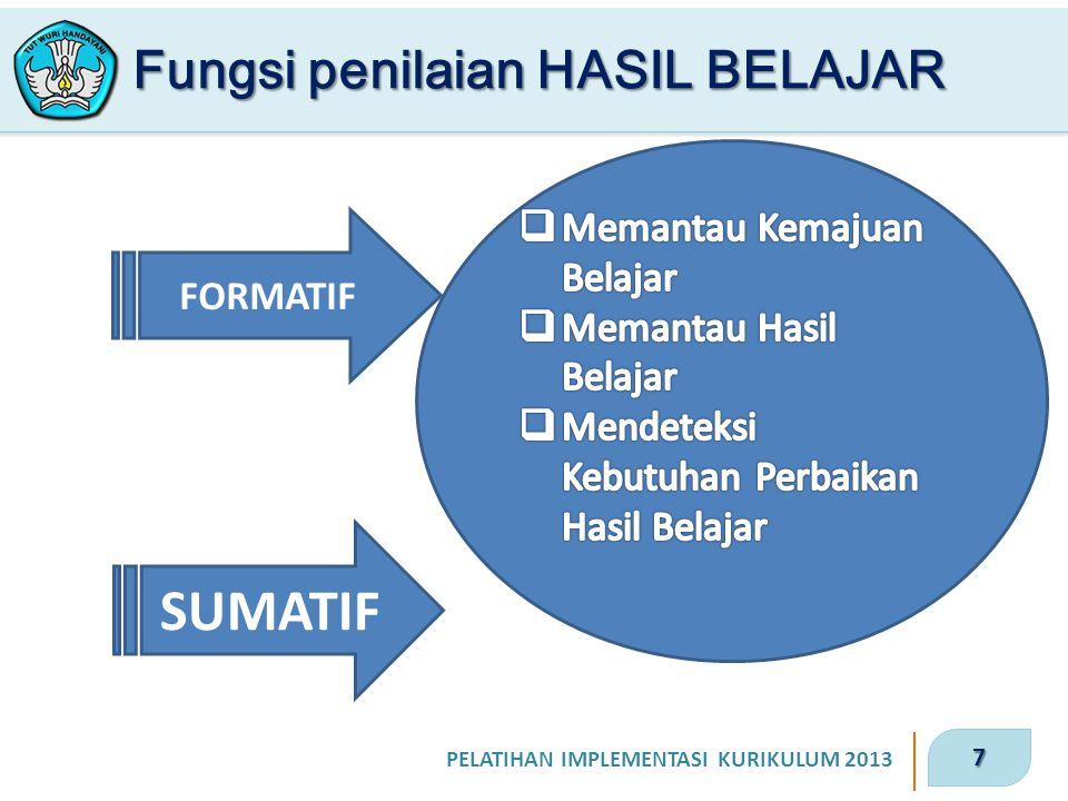 7 PELATIHAN IMPLEMENTASI KURIKULUM 2013 Fungsi penilaian HASIL BELAJAR FORMATIF SUMATIF