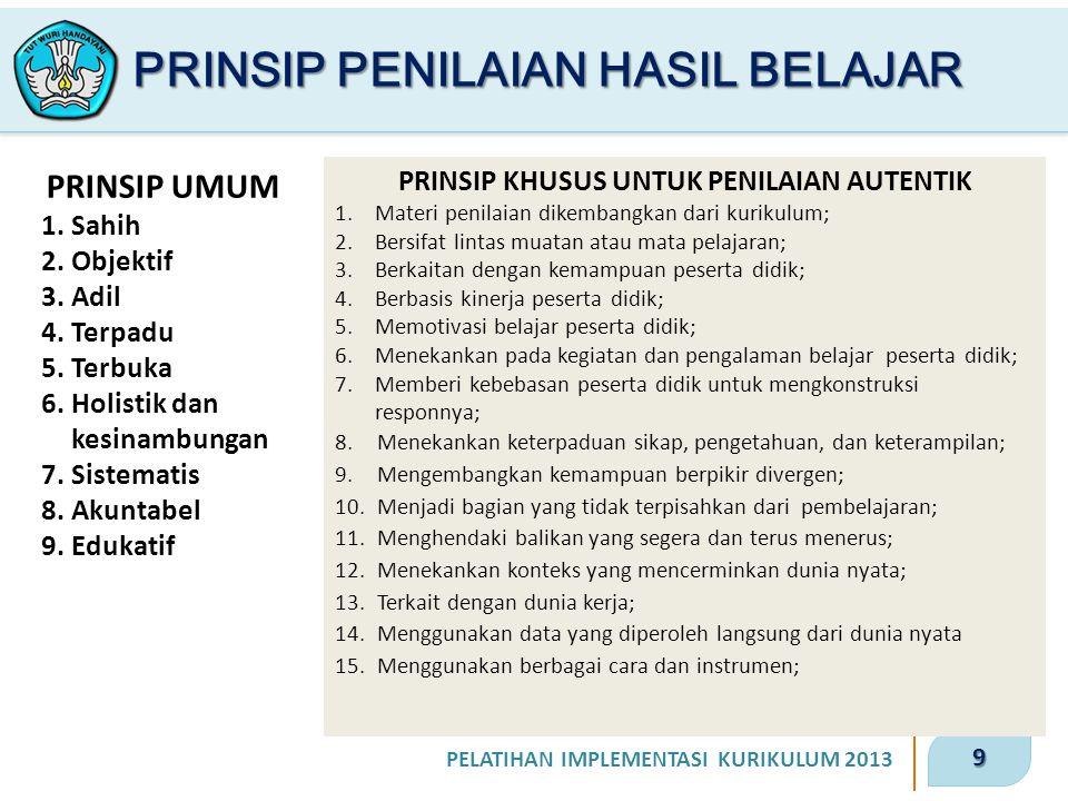 9 PELATIHAN IMPLEMENTASI KURIKULUM 2013 PRINSIP PENILAIAN HASIL BELAJAR PRINSIP UMUM 1.Sahih 2.Objektif 3.Adil 4.Terpadu 5.Terbuka 6.Holistik dan kesinambungan 7.Sistematis 8.Akuntabel 9.Edukatif PRINSIP KHUSUS UNTUK PENILAIAN AUTENTIK 1.Materi penilaian dikembangkan dari kurikulum; 2.Bersifat lintas muatan atau mata pelajaran; 3.Berkaitan dengan kemampuan peserta didik; 4.Berbasis kinerja peserta didik; 5.Memotivasi belajar peserta didik; 6.Menekankan pada kegiatan dan pengalaman belajar peserta didik; 7.Memberi kebebasan peserta didik untuk mengkonstruksi responnya; 8.Menekankan keterpaduan sikap, pengetahuan, dan keterampilan; 9.Mengembangkan kemampuan berpikir divergen; 10.Menjadi bagian yang tidak terpisahkan dari pembelajaran; 11.Menghendaki balikan yang segera dan terus menerus; 12.Menekankan konteks yang mencerminkan dunia nyata; 13.Terkait dengan dunia kerja; 14.Menggunakan data yang diperoleh langsung dari dunia nyata 15.Menggunakan berbagai cara dan instrumen;