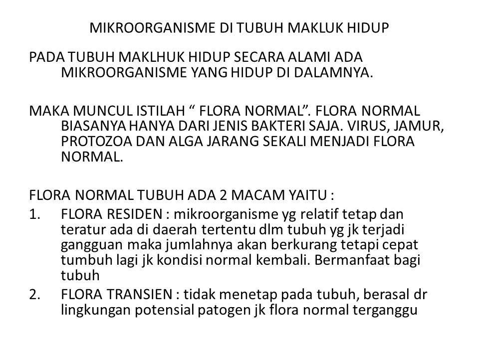 "MIKROORGANISME DI TUBUH MAKLUK HIDUP PADA TUBUH MAKLHUK HIDUP SECARA ALAMI ADA MIKROORGANISME YANG HIDUP DI DALAMNYA. MAKA MUNCUL ISTILAH "" FLORA NORM"