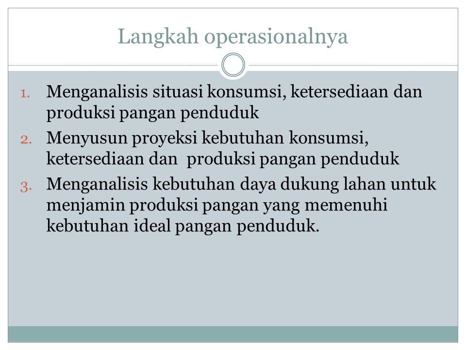 Langkah operasionalnya 1. Menganalisis situasi konsumsi, ketersediaan dan produksi pangan penduduk 2. Menyusun proyeksi kebutuhan konsumsi, ketersedia