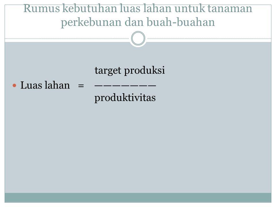 Rumus kebutuhan luas lahan untuk tanaman perkebunan dan buah-buahan target produksi Luas lahan = ——————— produktivitas
