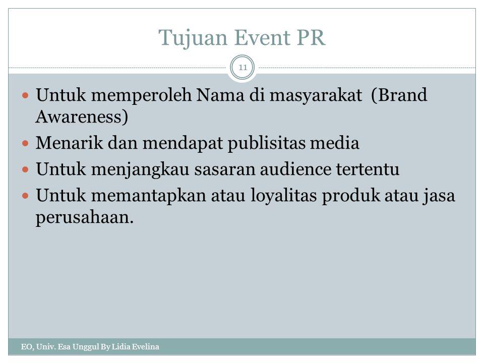 Tujuan Event PR Untuk memperoleh Nama di masyarakat (Brand Awareness) Menarik dan mendapat publisitas media Untuk menjangkau sasaran audience tertentu Untuk memantapkan atau loyalitas produk atau jasa perusahaan.