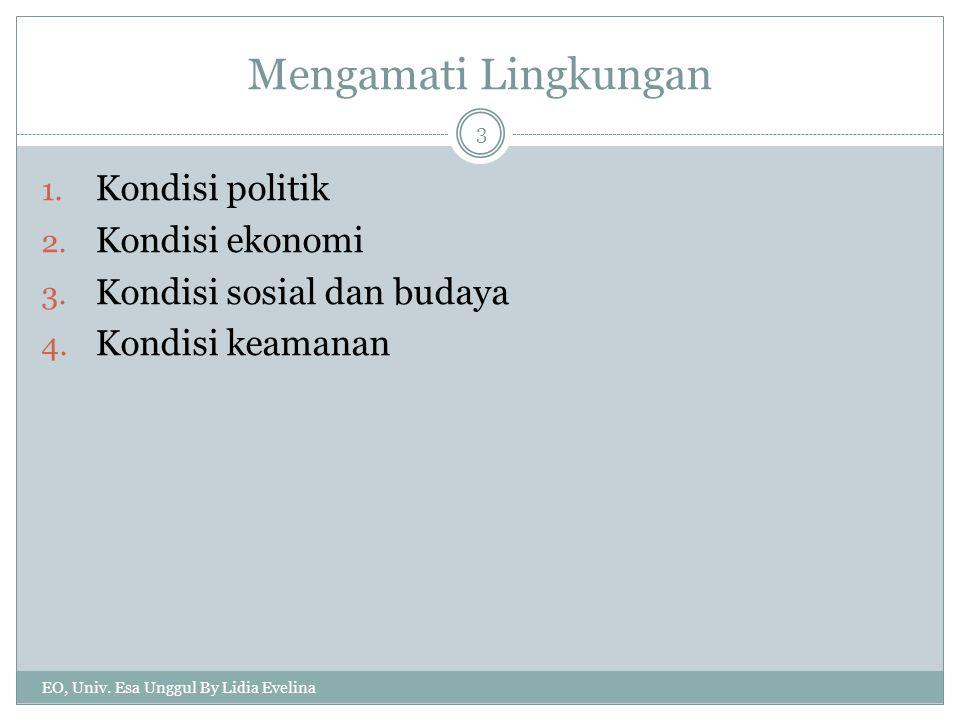 Mengamati Lingkungan 1.Kondisi politik 2. Kondisi ekonomi 3.