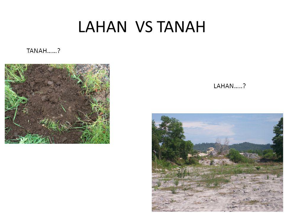 LAHAN VS TANAH TANAH…… LAHAN…..