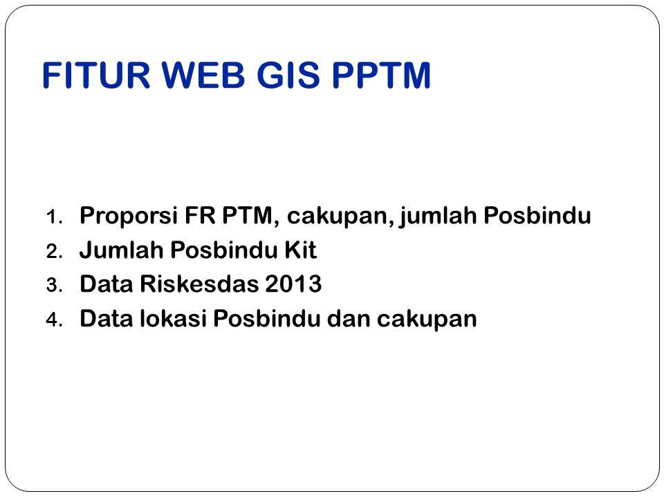 FITUR WEB GIS PPTM 1.Proporsi FR PTM, cakupan, jumlah Posbindu 2.