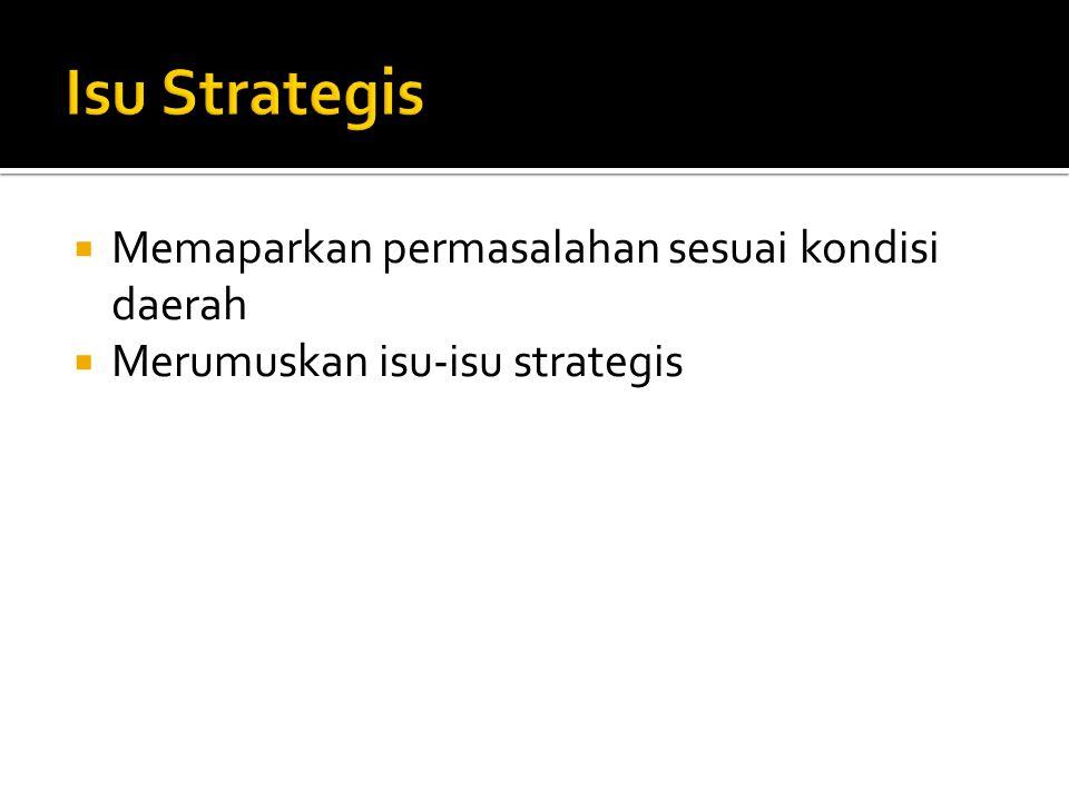  Memaparkan permasalahan sesuai kondisi daerah  Merumuskan isu-isu strategis