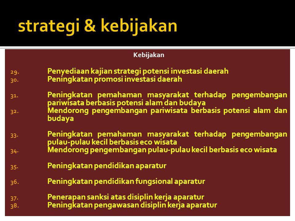 Kebijakan 29. Penyediaan kajian strategi potensi investasi daerah 30. Peningkatan promosi investasi daerah 31. Peningkatan pemahaman masyarakat terhad