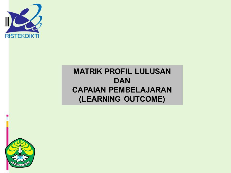 MATRIK PROFIL LULUSAN DAN CAPAIAN PEMBELAJARAN (LEARNING OUTCOME)
