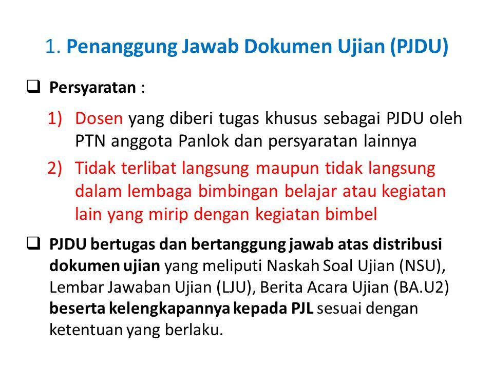 1. Penanggung Jawab Dokumen Ujian (PJDU)  Persyaratan : 1)Dosen yang diberi tugas khusus sebagai PJDU oleh PTN anggota Panlok dan persyaratan lainnya