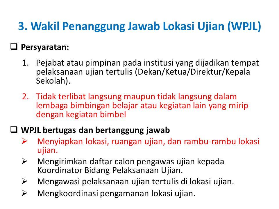 3. Wakil Penanggung Jawab Lokasi Ujian (WPJL)  Persyaratan: 1.Pejabat atau pimpinan pada institusi yang dijadikan tempat pelaksanaan ujian tertulis (