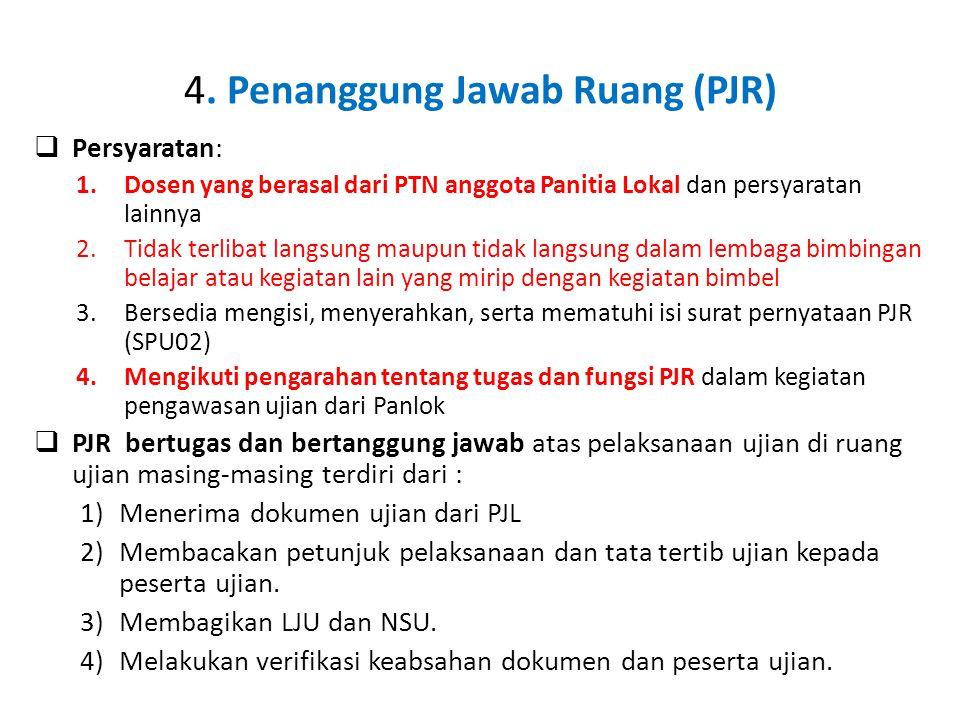 4. Penanggung Jawab Ruang (PJR)  Persyaratan: 1.Dosen yang berasal dari PTN anggota Panitia Lokal dan persyaratan lainnya 2.Tidak terlibat langsung m