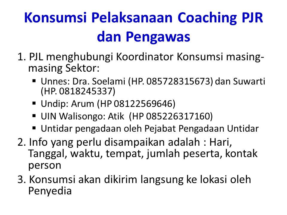 Konsumsi Pelaksanaan Coaching PJR dan Pengawas 1.