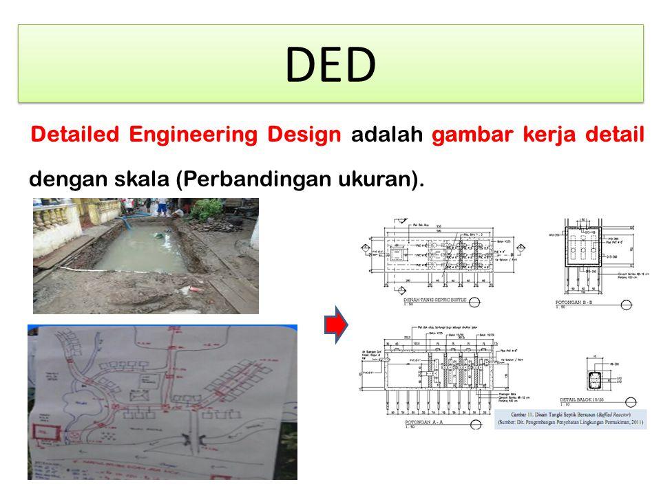 DED Detailed Engineering Design adalah gambar kerja detail dengan skala (Perbandingan ukuran).