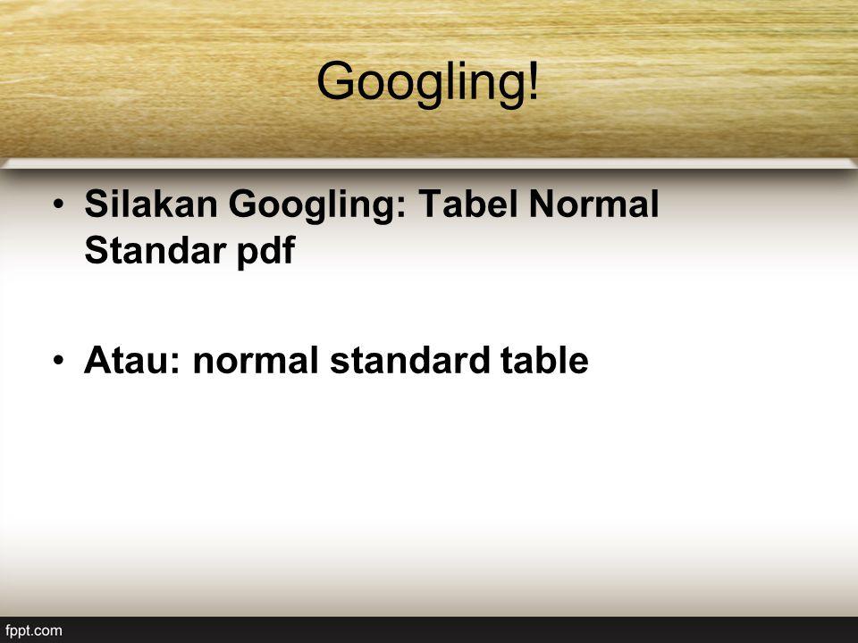 Googling! Silakan Googling: Tabel Normal Standar pdf Atau: normal standard table