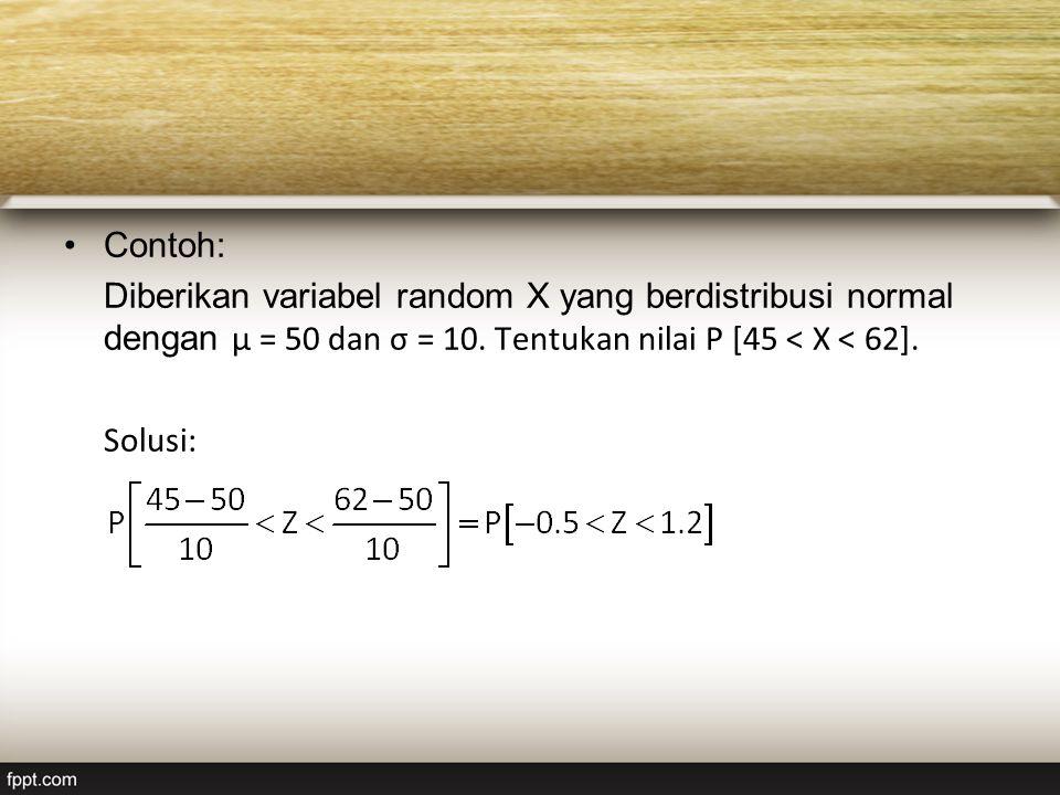 Contoh: Diberikan variabel random X yang berdistribusi normal dengan μ = 50 dan σ = 10.